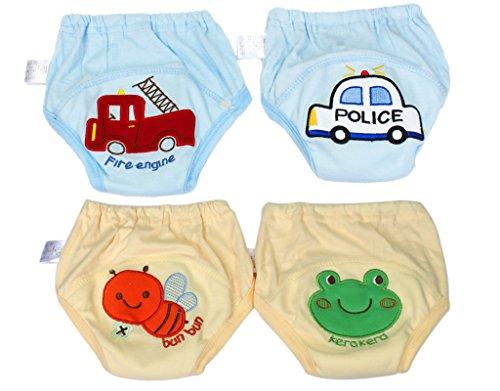 BONAMART Trainingshose Stoffwindeln Windeln Unterhosen Töpfchen Für Kinder Jungen, Unterwäsche Toilettensitz Kinder, 4 Einheiten Blau Gelb, 90CM
