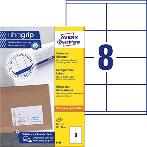 AVERY Zweckform 3426 Universal Etiketten (800 Klebeetiketten, 105x70mm auf A4, Papier matt, bedruckbare Versandetiketten, selbstklebende Versandaufkleber mit ultragrip) 100 Blatt, weiß