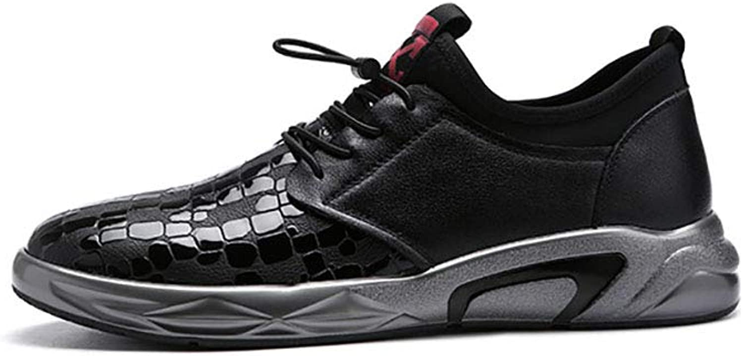 Men's Sneakers, Spring Fall Fashion Leather Lace-up shoes, Comfort Outdoor Casual Sneakers,Fitness shoes Breathable Running shoes