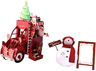 Timmor 3D Pop Up Christmas Flower Car Cards, Happy New Year Greeting Holiday Cards. (Flower car)