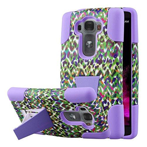 Funda LG G Flex 2, Funda con soporte MPERO IMPACT Serie X de doble capa híbrida de silicona y policarbonato, robusta y duradera, resistente a golpes para G Flex 2 [Ajuste perfecto y recortes de conectores precisos] - Purple Rainbow Leopard