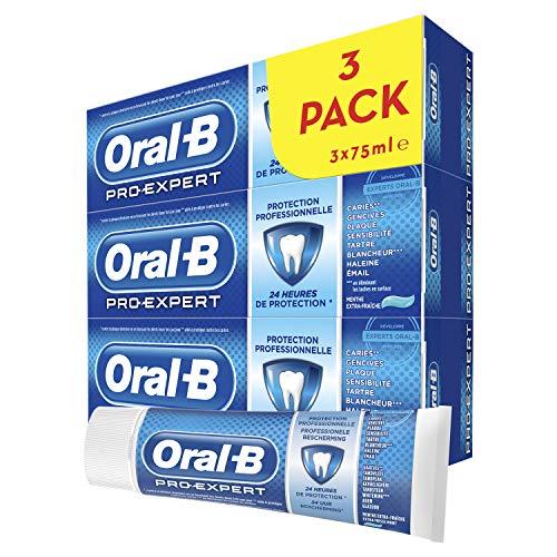 Oral-B Pro-Expert Dentifrice Protection Professionnelle, 24 H de Protection, Combinaison Unique de Fluor et Ingrédients Actifs, Lot de 3x75 ml