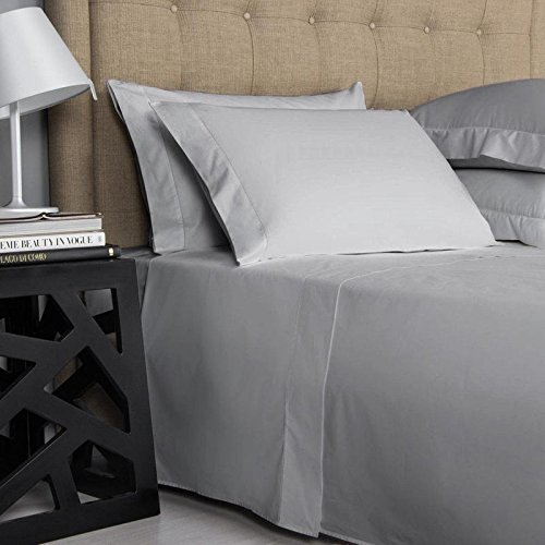 on Amazon King Size Sheets Luxury Soft 550-TC Egyptian Cotton - Sheet Set for King Size (76x80) Mattress Fits 10-12 Inches Fully Elastic Deep Pocket (Solid, Silver Grey)