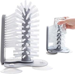 Cepillo de limpieza de cristal,herramienta de limpieza para enjuagues, cepillo de limpieza,vaso con ventosa, jarra de cerv...