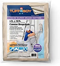TUFFBOY 10 OZ. Super Weight Cotton Canvas All Purpose Drop Cloth 4 Ft. X 12 Ft. | SEAMLESS