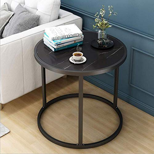 Tavolino Tavolino Tavolino Tavolino Tavolino Tavolino rotondo Tavolino moderno con gambe in metallo Tavolini piccoli snack per casa Soggiorno Ufficio, 60 * 43 cm Tavolini da divano (Colore: nero)