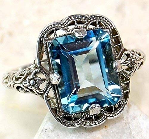 Huge Natural 3.5Ct Tanzanite 925 Silver Ring Women Wedding Engagement (sapphire #7)