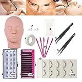 False Eyelashes Extension Practice Exercise Set for Professional Flat Mannequin Head Lip Makeup Training and Eyelash Graft(No Contain Glue)