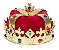 Kings Jeweled crown with red liner Approximately 8 x 7 x 4 inches Great for kids or adults Great for Mardi Gras - deluxe King hat- regal gems!