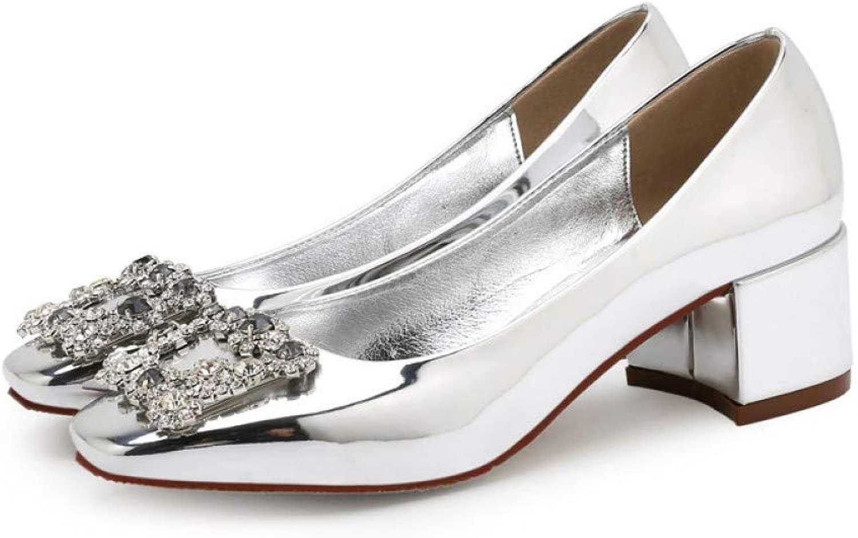 Kristall Glänzende Hochzeitsfeier Frau Frau Pumpt Schuhe Einfarbig Rundkopf Lady High Heels 5Cm  erstklassige Qualität