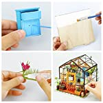 Rolife Dollhouse DIY Miniature Room Kit-Handmade Green House-Home Decoration-Miniature Model to Build-Christmas Birthday… 10 【Exquisite Mini House and Eco-Friendly Materials】Our diy mini doll house is very well made, using a miniature scale of about 1:24. All pieces are in seperate bags and a colourful step by step instruction book is included, which is a joy to read and very clear.The materials in the kit are eco-friendly, have no burrs.The paint is odorless and can also be easily washed out by water 【DIY Model Kits and A Handmade Toy】This wood model kits will make you fall in love with arts and crafts and become fulfilled. Inside the furniture suite are easy to stitching, Even if you are a beginner, follow the steps to do it will not be too hard. You can give yourself a plan, spend two hours a day to assemble, stick to it, not only develop good habits, but also make a surprise toy house 【Be Patience and Feel Amazing】To build it, patience is the ultimate key to success.It can be assembled with family, friends and lovers to experience the pleasure of hands-on.A sense of accomplishment will come when it is finished.You can redecorate it and add in your new creation.After turning on the light, it makes a comfy, cute room to look at once and awhile