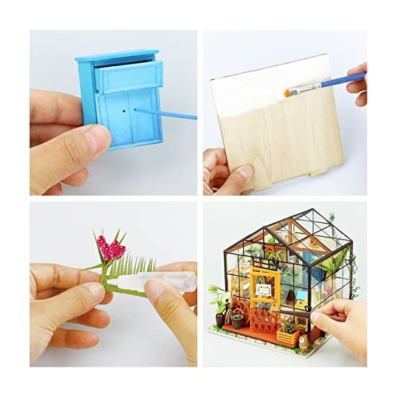 Rolife Dollhouse DIY Miniature Room Kit-Handmade Green House-Home Decoration-Miniature Model to Build-Christmas Birthday… 4 【Exquisite Mini House and Eco-Friendly Materials】Our diy mini doll house is very well made, using a miniature scale of about 1:24. All pieces are in seperate bags and a colourful step by step instruction book is included, which is a joy to read and very clear.The materials in the kit are eco-friendly, have no burrs.The paint is odorless and can also be easily washed out by water 【DIY Model Kits and A Handmade Toy】This wood model kits will make you fall in love with arts and crafts and become fulfilled. Inside the furniture suite are easy to stitching, Even if you are a beginner, follow the steps to do it will not be too hard. You can give yourself a plan, spend two hours a day to assemble, stick to it, not only develop good habits, but also make a surprise toy house 【Be Patience and Feel Amazing】To build it, patience is the ultimate key to success.It can be assembled with family, friends and lovers to experience the pleasure of hands-on.A sense of accomplishment will come when it is finished.You can redecorate it and add in your new creation.After turning on the light, it makes a comfy, cute room to look at once and awhile