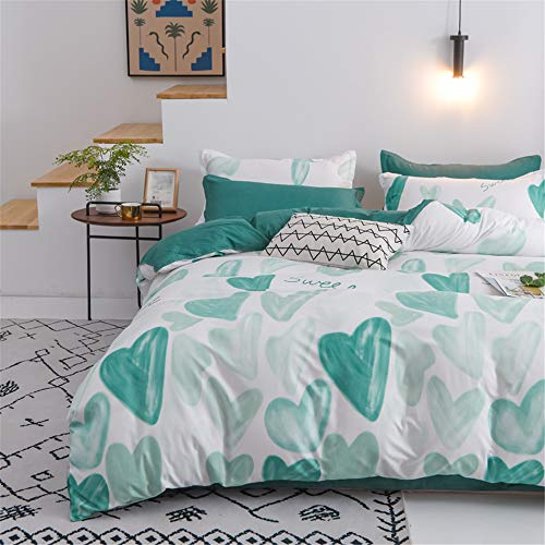 Morbuy Bedding Set Duvet Cover Set 4pcs for Double King Single Size Bed, Lovely Heart Printed Duvet Set with 1 Quilt Case 1 Flat Sheet 2 Pillowcases (Green heart,150x200cm /1.5M)