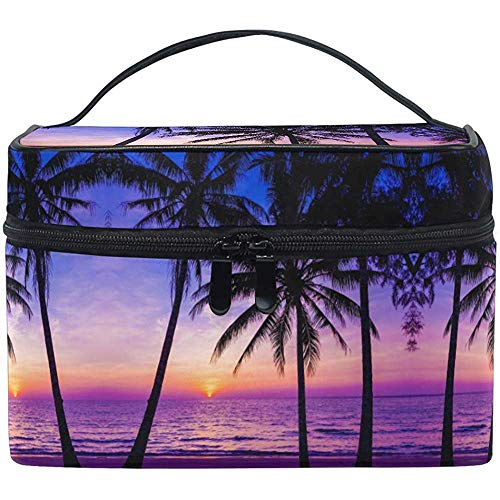 Toilettas Ocean Palm Trees Sunset Beach Reizen cosmeticaborstel tas opbergorganisator
