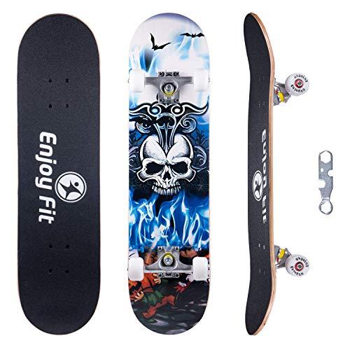 EnjoyFit Skateboard Komplettboard 80 x 20 cm mit ABEC-7 Kugellager 9-lagigem Ahornholz für Kinder Jungendliche und Erwachsene, Belastung 150kg (Blauer Dämon)