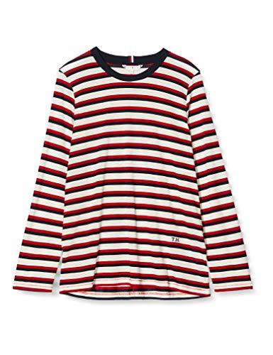 Tommy Hilfiger Damen TH Essential TOP LS Sportsweatshirt, Weiß (WE Bold STP RWB 0E4), Small (Herstellergröße:S)