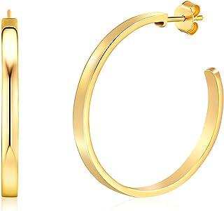 Sponsored Ad - KOSINER 14K Gold Plated Hoop Earrings for Women, 16MM 28MM Round Classic Colored Hoop Earrings for Girls En...