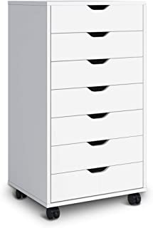 DEVAISE 7 Drawers Chest Storage Dresser Cabinet with Removable Wheels (Classic Style-White)