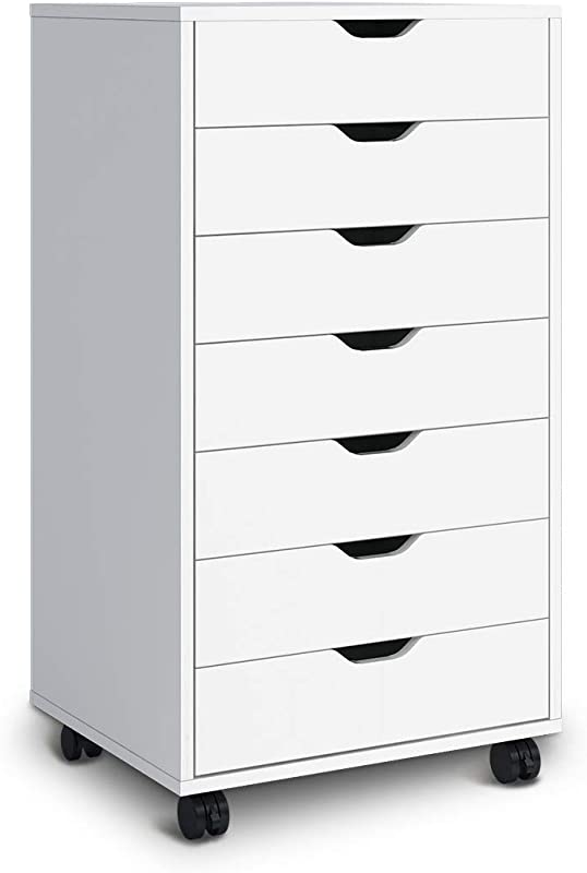 DEVAISE 7 Drawers Chest Storage Dresser Cabinet With Removable Wheels Classic Style White