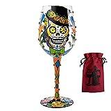 Sugar Skulls Wine Glass & Wine Bag - 2 Piece Wine Gift Set
