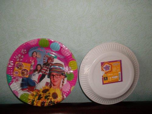 8 grandes assiettes plates rondes en carton LAS POPULARES ,LES POPULAIRES 23 cm ,Fête , Anniversaire Party de Filles