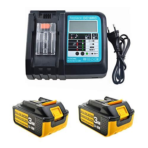 Ersatz Ladegerät mit 2X Akku 18V 3.0Ah für für Makita Baustellenradio DMR100 DMR108 DMR107 DMR106 DMR106B DMR102 DMR104 DMR110 DMR101 DMR103B BMR102 BMR100 BMR104 18 Volt Radio Batterie