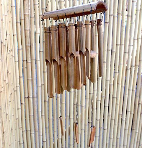 Asien Lifestyle Großes Garten Windspiel (80cm) Bambus Holz Deko Klangspiel Bali