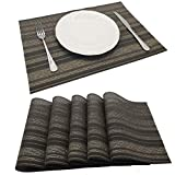 Tennove Placemats Set of 6, Washable Placemats PVC Cross Weave Woven Vinyl Table Mats for Kitchen Dining Table Decoration (NW1A)