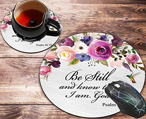 Round Mouse Pad and Coasters Set, Psalm 46:10 Christian Bible Hummingbird Pink Purple Watercolor Flowers Mousepad, Anti Slip Rubber Round Mousepads Desktop Notebook Mouse Mat for Working and Gaming