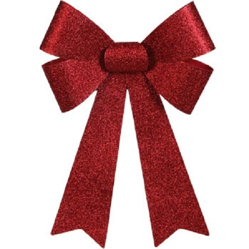 Glittery Red Plastic Christmas Bow 13x9'