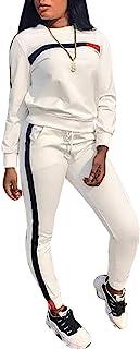 Subtle Flavor Women Stripe Patchwork Two Piece Sweatsuit Round Neck Pullover Skinny Long Pants