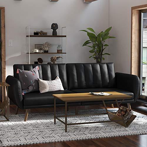 Novogratz Brittany Futon, Convertible Sofa & Couch, Black Faux Leather
