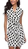 MISS MOLY Sommerkleid Damen Wickelkleid Gepunktetes Kleider Polka Dots Weiß X-Large