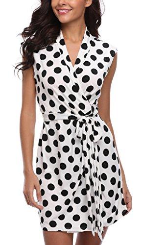 MISS MOLY Sommerkleid Damen Wickelkleid Gepunktetes Kleider Polka Dots Weiß X-Small