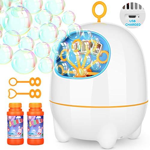 Elover USB Aufgeladen Seifenblasenmaschine für Kinder Seifenblasen Maschine Tragbar 2 Geschwindigkeit Einstellbar Indoor und Outdoor Bubble Maker Spiele für Dekoration, Hochzeit und Parteien