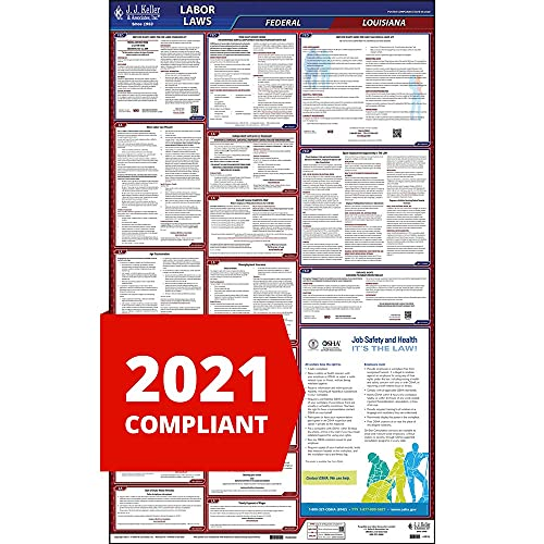 2021 Louisiana and Federal Labor Law Poster (English, LA State) - OSHA Compliant All-in-One Laminated Poster