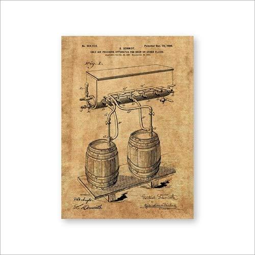 Bierfass Kaltwind Wasserhahn Wandbild Poster Raumdekoration Retro Blaupause Leinwand Ölgemälde 30x40cm