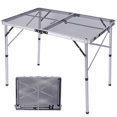 Varbucamp Foldable Grill Table for Outdoor, Aluminum Lightweight Portable Grill Stand Table with Adjustable Height for Camping, BBQ, Picnic, Cooking Outdoor, Silver 36''×24''
