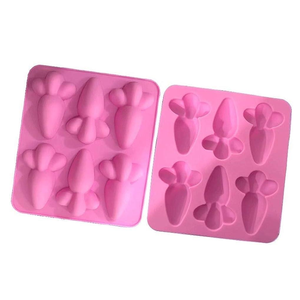 生き物プラスチック息切れS-TING ベーキングカップ型6穴キャロット形状食品グレードシリコンフォンダンキャンディチョコレートムースケーキ金型ケーキDIYベーキング(2セット)カップケーキ金型、(カラー:ピンク、サイズ:フリーサイズ) クッキー型 ケーキ型 ゼりー型 製菓用品