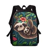HXA Cute Sloth Bookbags Mochila para niños Bolsa para portátil de 15.7 Pulgadas Mochila Floral Estampado Animal para niños de 6 a 12 años,D