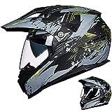 Auboa Full Face ATV Dual Sport Helmets for Adults Motorcycle, Dirt Bike Helmet Motocross MTB Off-Road Casco DOT(Grey Yellow,L)