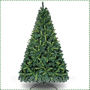 OurWarm 7.5ft Artificial Christmas Tree Unlit Premium Hinged Spruce Xmas Tree for Indoor Outdoor Holiday Decorations with 1600 Branch Tips Foldable Metal Stand Dark Green & Light Green