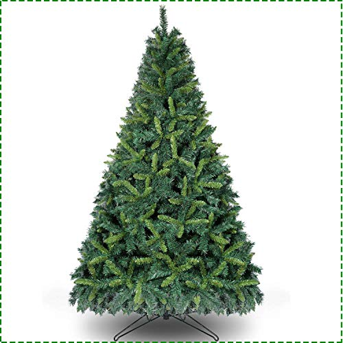 OurWarm 7.5ft Artificial Christmas Tree Unlit Premium Hinged Spruce Xmas Tree for Indoor Outdoor Holiday Decorations with 1600 Branch Tips, Foldable Metal Stand, Dark Green & Light Green