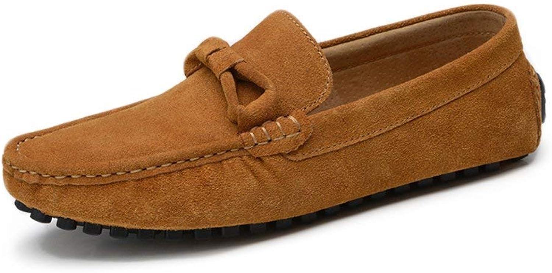 Hhgold Men's Moccasins shoes, Men Driving Low-Top Loafers Bow Tie Decor Genuine Leather Soft Sole Penny Slip-on Moccasins (color  Navy, Size  42 EU) (color   Brown, Size   44 EU)
