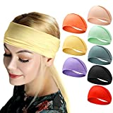 Headbands for Women, Bohemian Style Yoga Elastic Headwraps Head Wrap Hair Band 8 Pack (Style-2 (8-Pack))