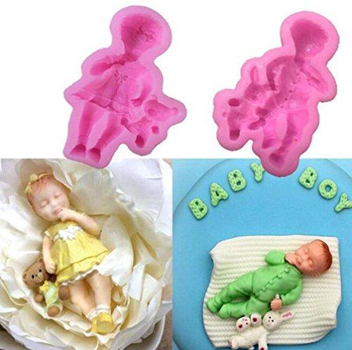2pcs/lot Mini Dormir bébé gâteau de moules Fondant, Baby Coque en silicone pour décoration de gâteaux Moule à gâteau et décoration de chocolat