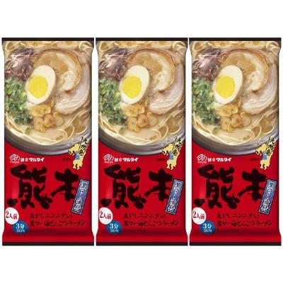 MARUTAI Kumamoto Tonkotsu Instant Noodle Soup Ramen Non-fried For 2 servings (3pcs)