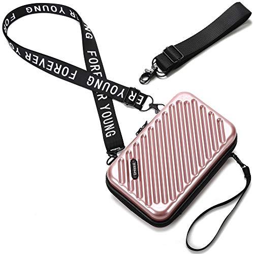 Handy Umhängetasche - Mode Damen Schultertasche Klein Geldbörse Crossbody Handtasche - Hart ABS+pc Kofferform mit Verstellbar Abnehmbar Schultergurt für Handy unter 7.5 Zoll (Streifen Roségold)