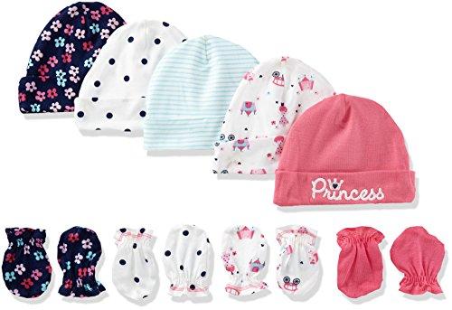Gerber Baby Girls' 9-Piece Cap and Mitten Bundle, Pink Princess, Newborn