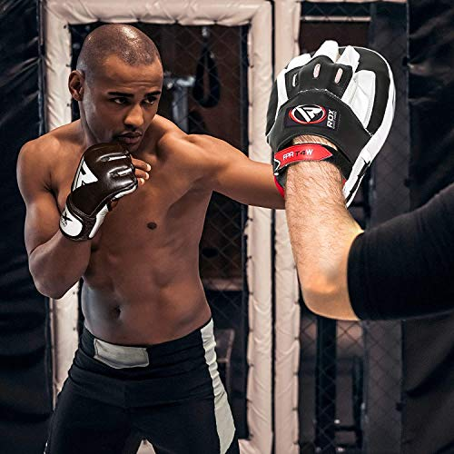 RDX MMA Gloves Sparring Martial Arts Grappling Cowhide Leather Training UFC Cage Fighting Combat Punching Bag Gel Mitts,Black,Medium